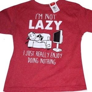 """Other - NWT Boys Funny Graphic T-shirt """" I''m Not Lazy"""" XS"""